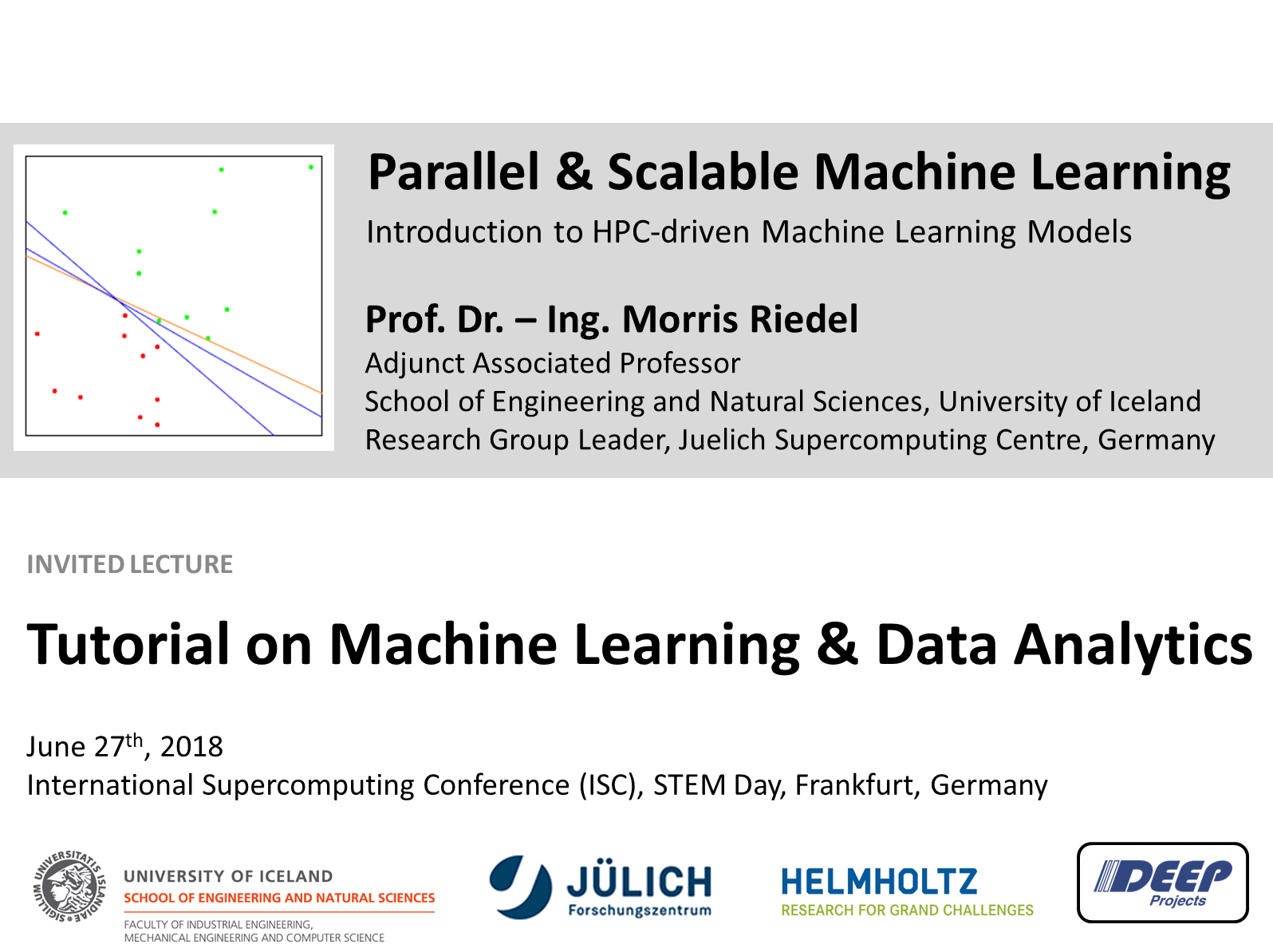 ISC 2018 Tutorial Machine Learning Data Analytics