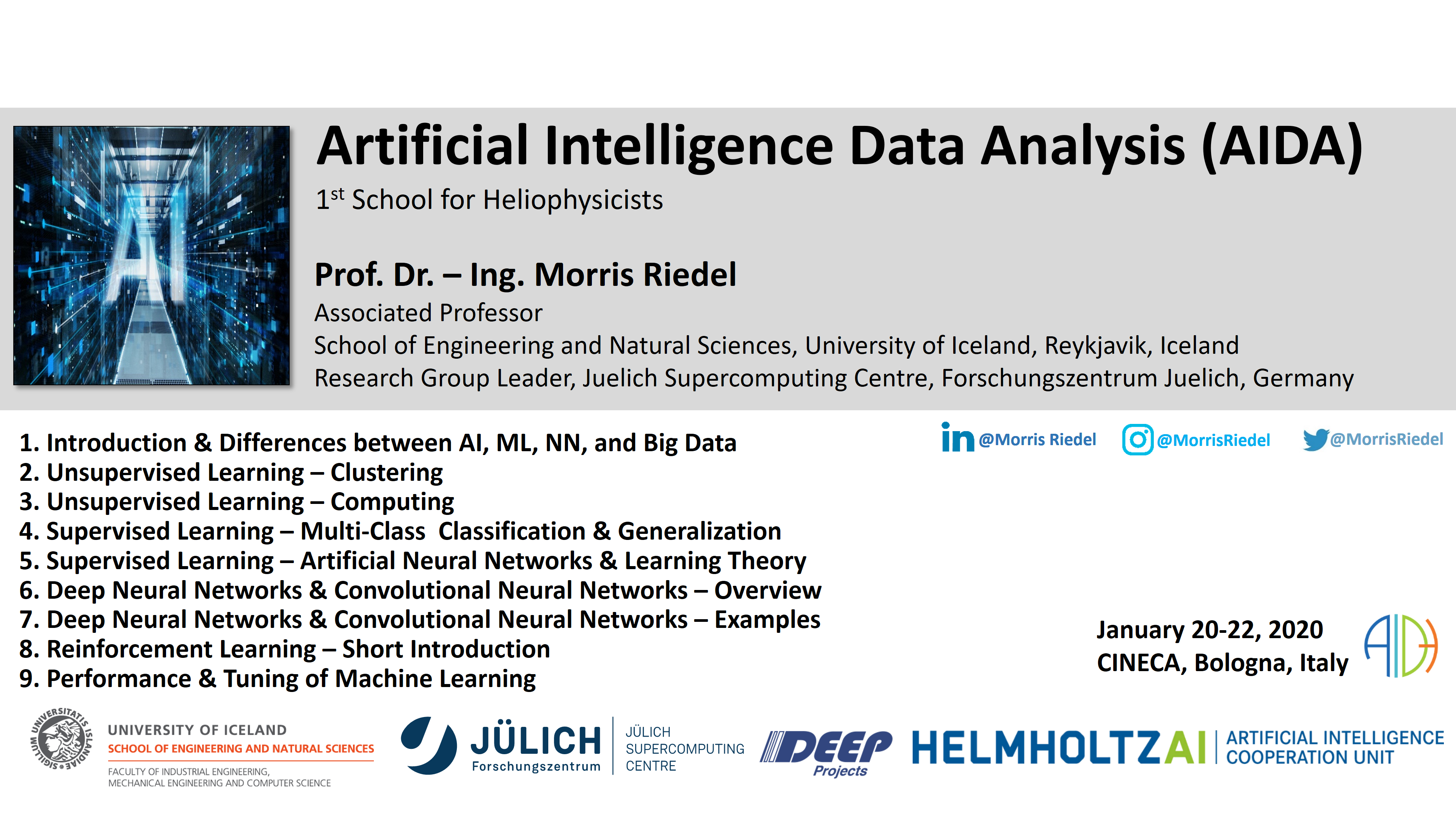 Artificial Intelligence Data Analysis School for Heliophysicists