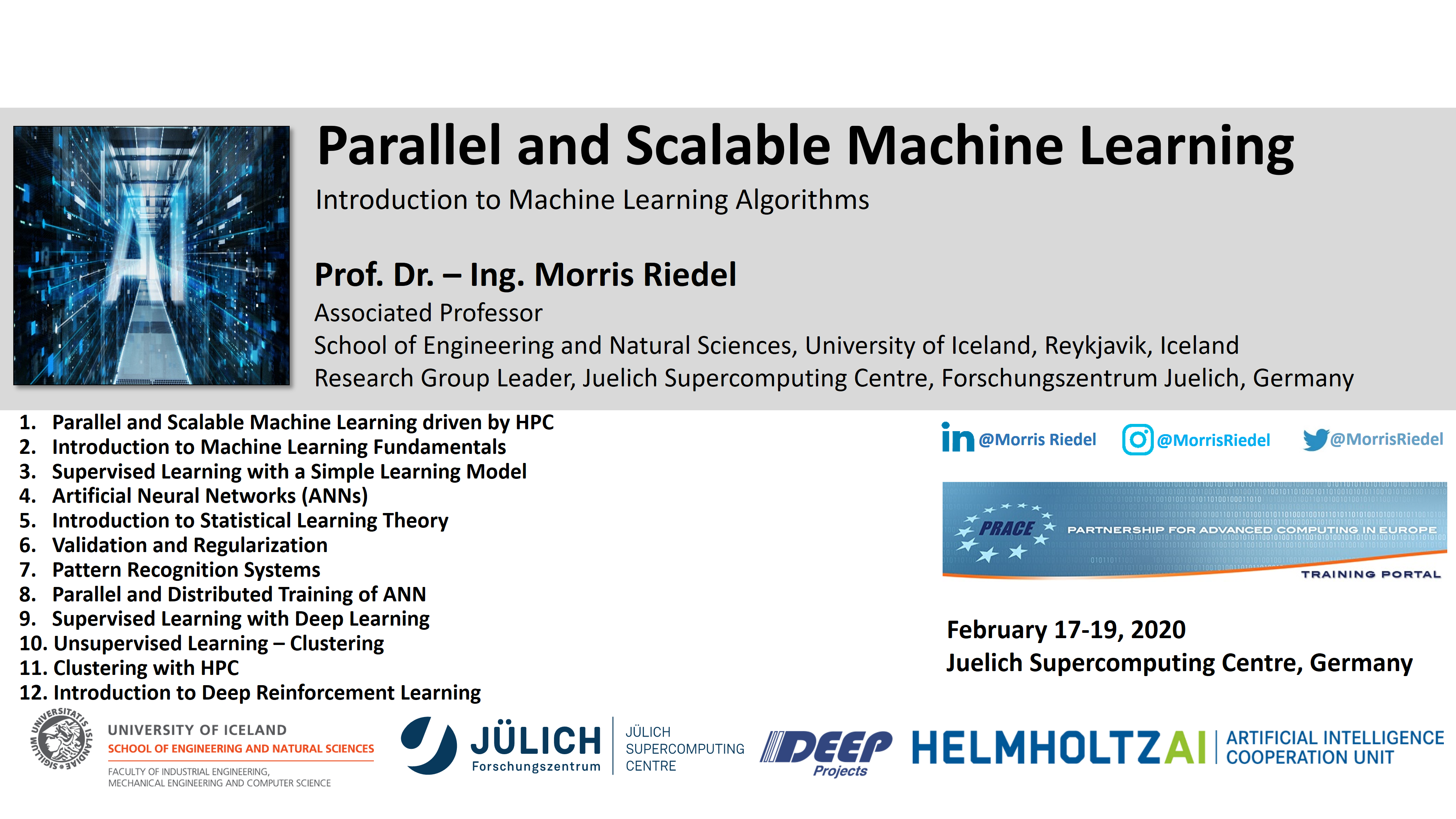 Parallel and Scalable Machine Learning Introduction Morris Riedel