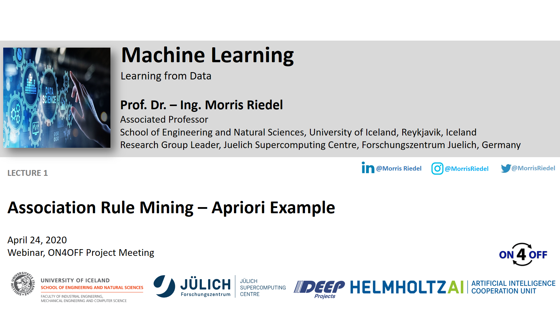 ON4OFF Demo Association Rule Mining - Apriori Example Morris Riedel